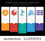 5 vector icons such as pie...