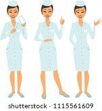 set of cartoon female doctor...   Shutterstock .eps vector #1115561609