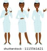 set of cartoon female doctor...   Shutterstock .eps vector #1115561621