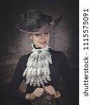 retro styled female portrait... | Shutterstock . vector #1115575091