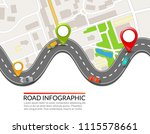 road infographic. colorful pin... | Shutterstock .eps vector #1115578661