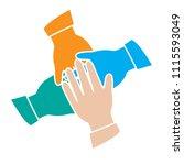 teamwork top view hands... | Shutterstock .eps vector #1115593049
