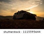 military patrol car on sunset...   Shutterstock . vector #1115595644