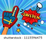 male hand in the country flag... | Shutterstock .eps vector #1115596475
