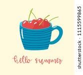 cartoon blue cup with cherries...   Shutterstock .eps vector #1115599865