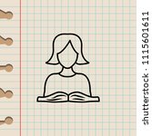 schoolgirl and book sketch icon.... | Shutterstock .eps vector #1115601611