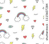 cute colorful seamless pattern... | Shutterstock .eps vector #1115607284