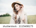 girl in eco style clothes... | Shutterstock . vector #1115608175
