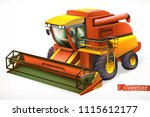 combine harvester 3d realistic... | Shutterstock .eps vector #1115612177