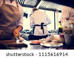 group of chefs working in the... | Shutterstock . vector #1115616914