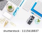 top view tablet  smartphone ... | Shutterstock . vector #1115618837