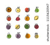 set of colorful fruit icons ... | Shutterstock .eps vector #1115620547
