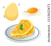 an omelet on white background... | Shutterstock .eps vector #1115622671