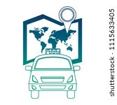 world paper map with taxi | Shutterstock .eps vector #1115633405
