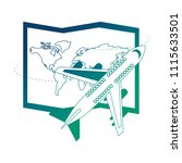 airplane flying with world... | Shutterstock .eps vector #1115633501