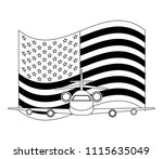 travel airplane and american... | Shutterstock .eps vector #1115635049