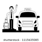 traveler man taking taxi with... | Shutterstock .eps vector #1115635085