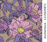 seamless pattern with poppy ... | Shutterstock .eps vector #1115635871