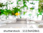 reserved metal plate on the... | Shutterstock . vector #1115642861