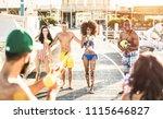 multiracial happy friends...   Shutterstock . vector #1115646827