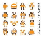 robot character icons orange... | Shutterstock . vector #1115647037