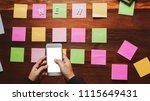 newsletter concept. hand of...   Shutterstock . vector #1115649431