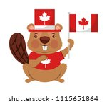 beaver of canada with hat and... | Shutterstock .eps vector #1115651864