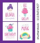 set of cute birthday poster ... | Shutterstock .eps vector #1115651927