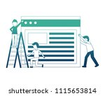 young men with web page... | Shutterstock .eps vector #1115653814