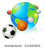Sports globe world concept, a globe with different sports balls flying around it. - stock vector