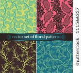 vector set of floral seamless... | Shutterstock .eps vector #111566327