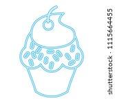 blue neon glowing sweet cupcake