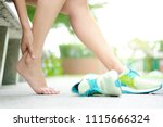 foot pain leg of woman which... | Shutterstock . vector #1115666324