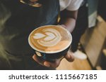 how to make latte art by... | Shutterstock . vector #1115667185