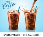 cold brewed coffee takeaway cup ... | Shutterstock . vector #1115673881