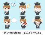 cute cartoon graduate on the...   Shutterstock .eps vector #1115679161