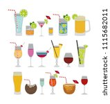 tropical cocktails set icons | Shutterstock .eps vector #1115682011