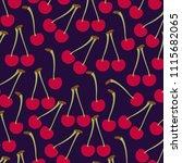 cherries fresh fruit pattern | Shutterstock .eps vector #1115682065