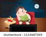 fat boy sitting at living room... | Shutterstock .eps vector #1115687345