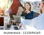smiling freelancers working... | Shutterstock . vector #1115696165
