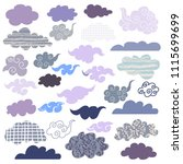 set of doodle  different clouds.... | Shutterstock .eps vector #1115699699