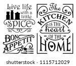 set of kitchen quote designs | Shutterstock .eps vector #1115712029