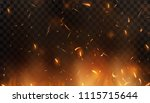 red fire sparks vector flying... | Shutterstock .eps vector #1115715644
