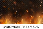 red fire sparks vector flying... | Shutterstock .eps vector #1115715647