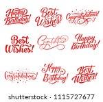 congratulations hand lettering... | Shutterstock .eps vector #1115727677