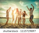 friends funny dance on the... | Shutterstock . vector #1115729897