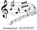 abstract music notes on line... | Shutterstock .eps vector #1115733737