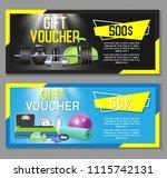 fitness gift voucher template... | Shutterstock .eps vector #1115742131