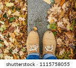 autumn leaf with single male... | Shutterstock . vector #1115758055