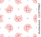 repeated head cats and hearts... | Shutterstock .eps vector #1115759867